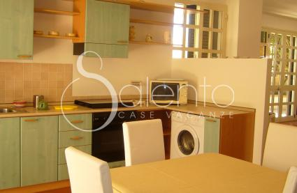 Habitable kitchen with electric oven, microwave oven and washing machine