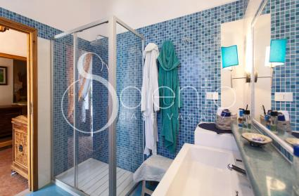 Blue bathroom with shower