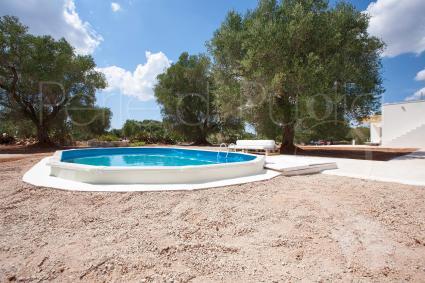 la piscina e l`area solarium