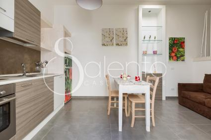 Il soggiorno pranzo del monolocale in affitto per vacanze nel Salento