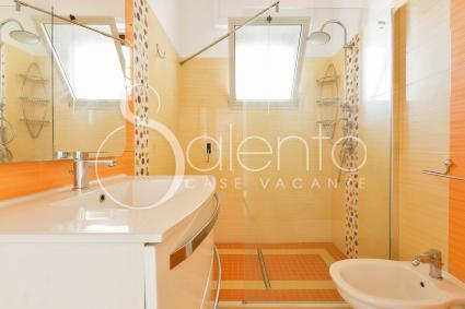 The colorful bathroom with shower