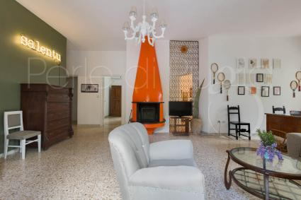 The living room of the villa with swimming pool for holidays in Puglia