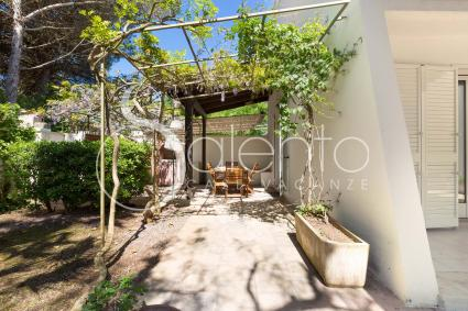 A beautiful pergola leads to the outdoor dining area