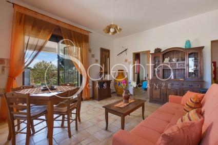 Il soggiorno della casa vacanze in affitto a Torre Castiglione, con divano letto