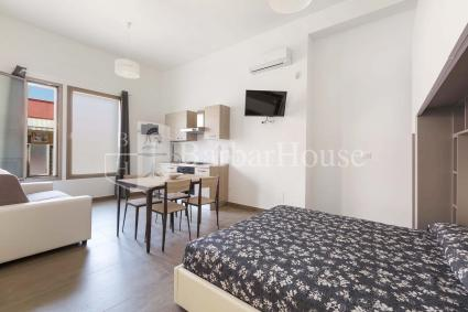 Open space of the first unit with dining area, kitchen, television and double bed