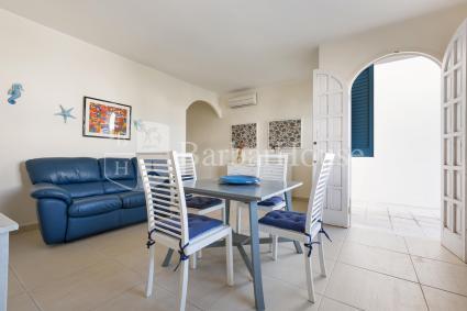 La casa si apre su un ampio soggiorno con sala pranzo e divano letto per due persone