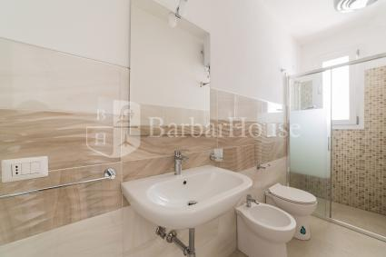 The two-room apartment has a spacious bathroom with shower