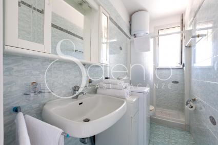 Il bagno con doccia in cui è presente anche la lavatrice