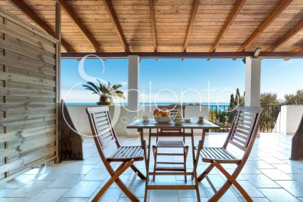 shaded veranda with sea view