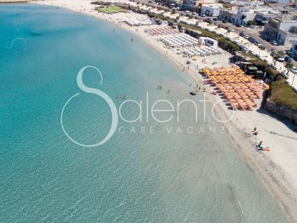 The coast of the Melendugno marina with drone view